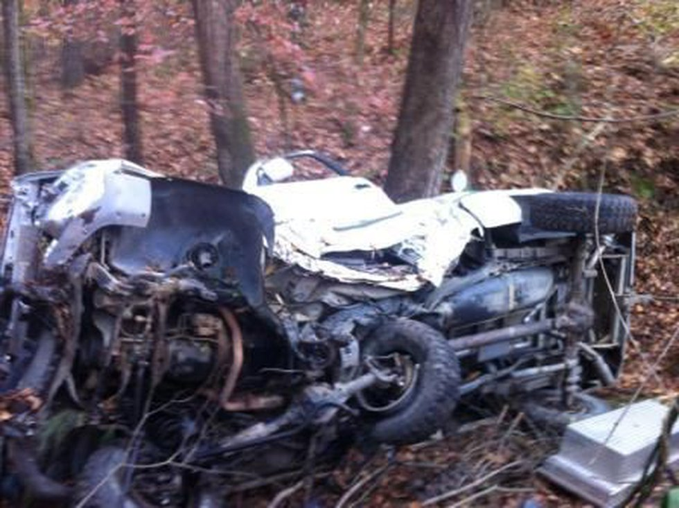 Tyler Campbell's truck crashed into a ditch on the side of I-65 Saturday. (Source: Donnie...