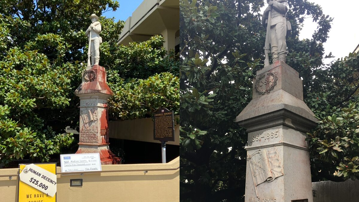 Side-by-side comparison of monument from August 5th, and August 26th