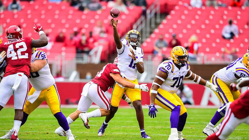 TJ Finley of the LSU Tigers during the first half of a game against the Arkansas Razorbacks at...