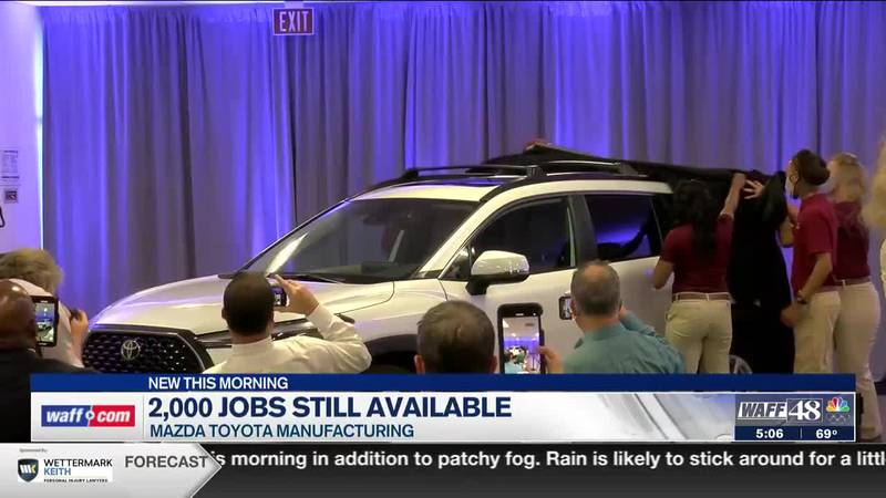 Jobs still available at Mazda Toyota Manufacturing
