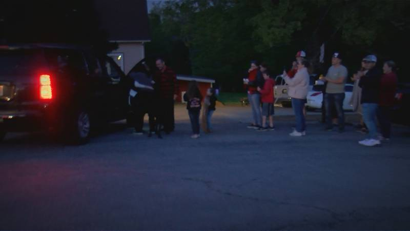 James Boyle, 16, gets a surprise homecoming after undergoing months of surgery for skin burns.