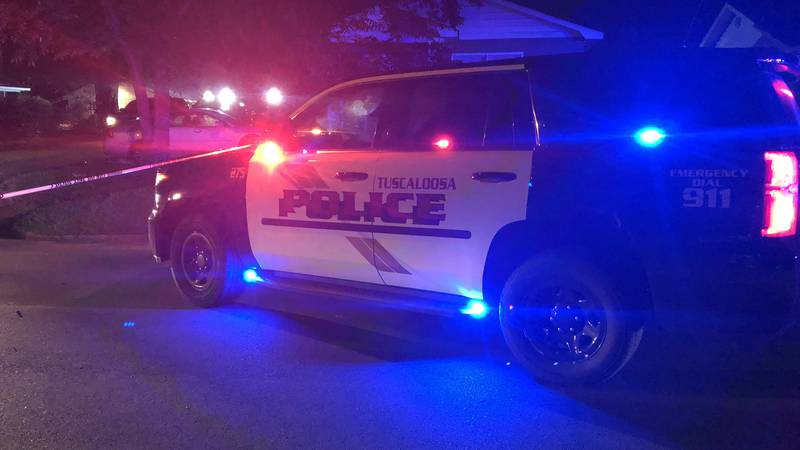 A Tuscaloosa Police patrol car on 24th Avenue East during a fatal shooting Saturday night.