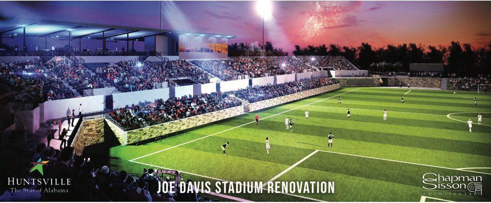 Artist's rendering of the soccer configuration of the new Joe Davis Stadium