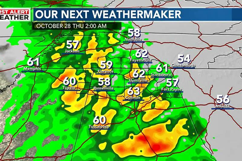 Rain moving in Thursday