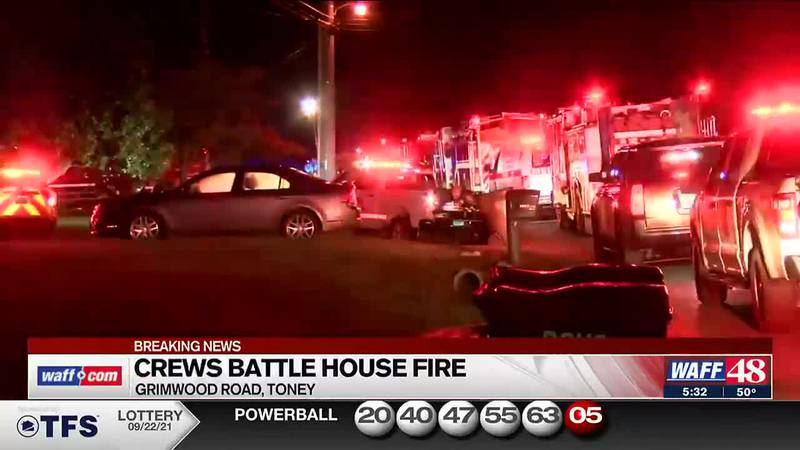 Crews battle house fire in Toney