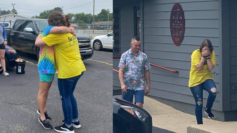 Such-n-Such employee Addy Miller surprised when she was gifted with a car