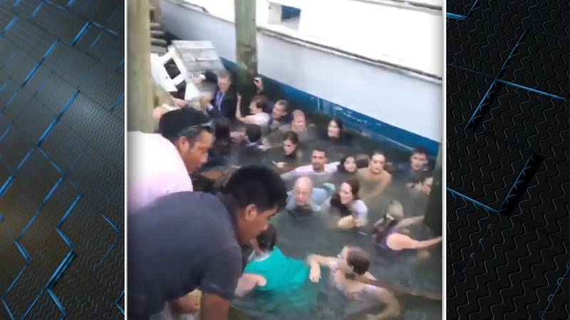 Twenty people fell into the water after a dock collapsed at a restaurant in Mount Pleasant...