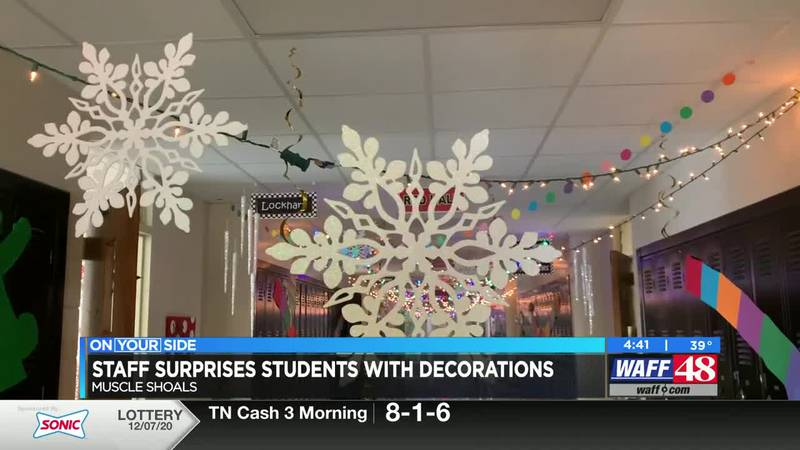 Staff surprises students with holiday decorations