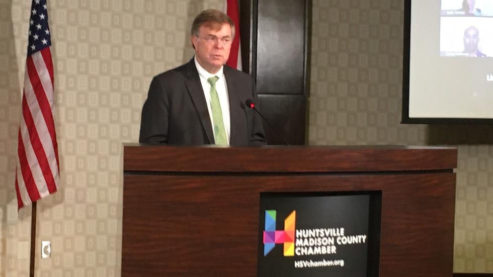 Huntsville Mayor Tommy Battle at Wednesday's area school announcement.