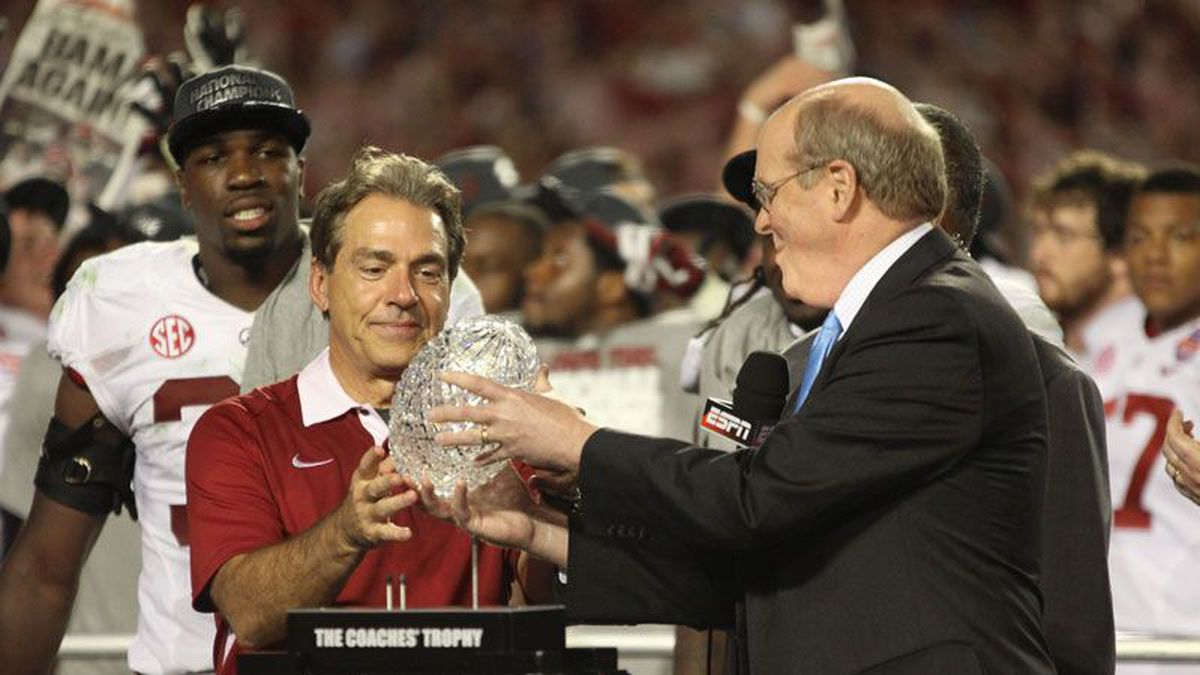 Nick Saban receives the Coaches' Trophy for the third time since becoming UA's head coach....