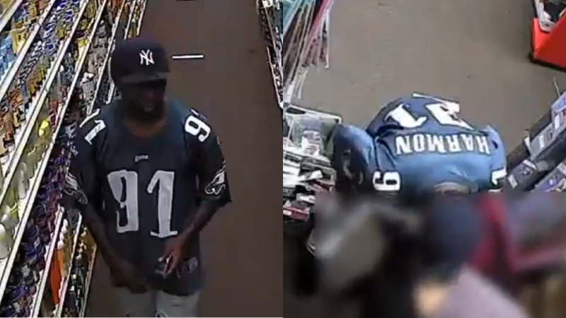 Surveillance video shows a man walk up behind a woman bending over and lick her backside.