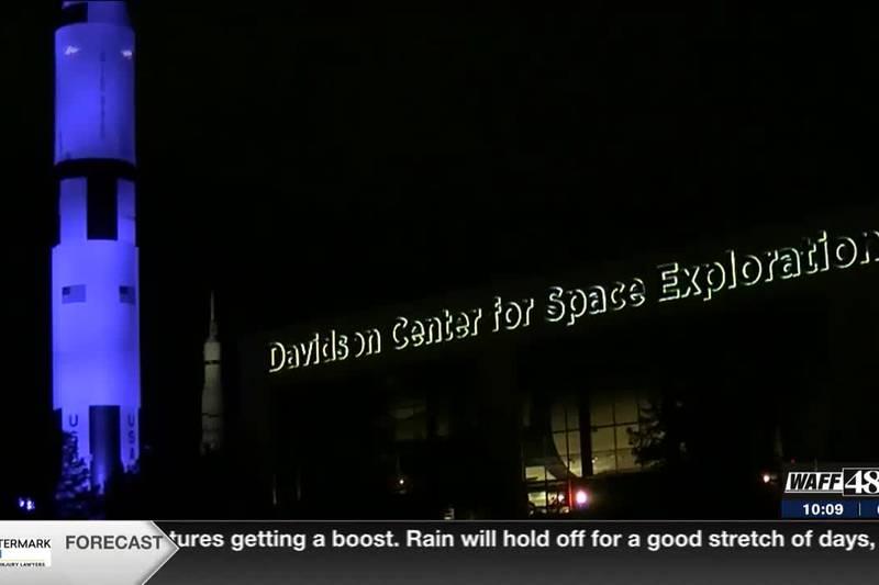 U.S. Space & Rocket Center lit up blue in honor of Dr. Dorothy S. Davidson