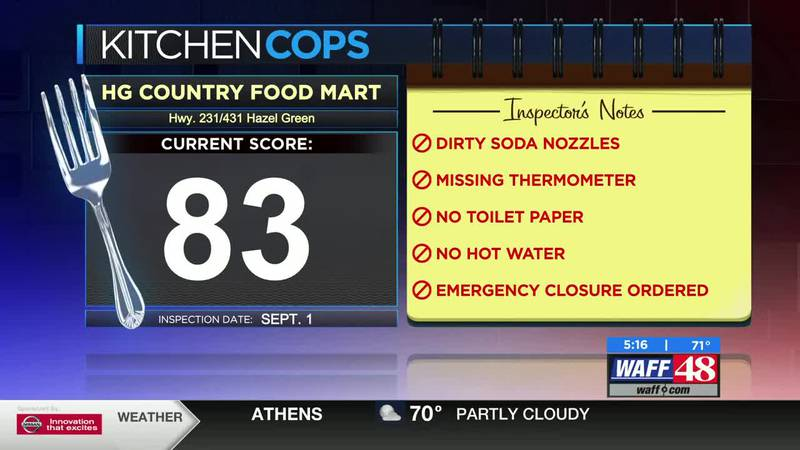 Madison County Kitchen Cops, September 11, 2020