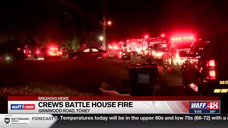 Crews battle house fire in Toney - 6 a.m. update