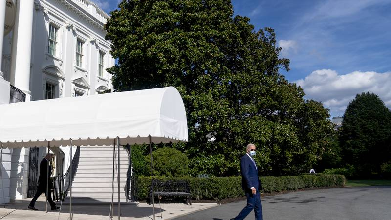 President Joe Biden walks towards Marine One on the South Lawn of the White House in...