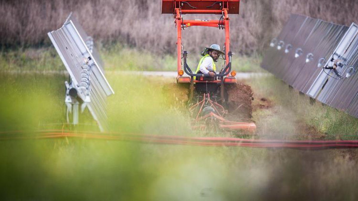 A man works to clears brush around panels at the Orsted solar farm off Mulberry Lane on Tuesday...