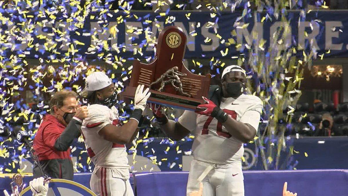 Alabama beat Florida 52-46m in the SEC Championship game.