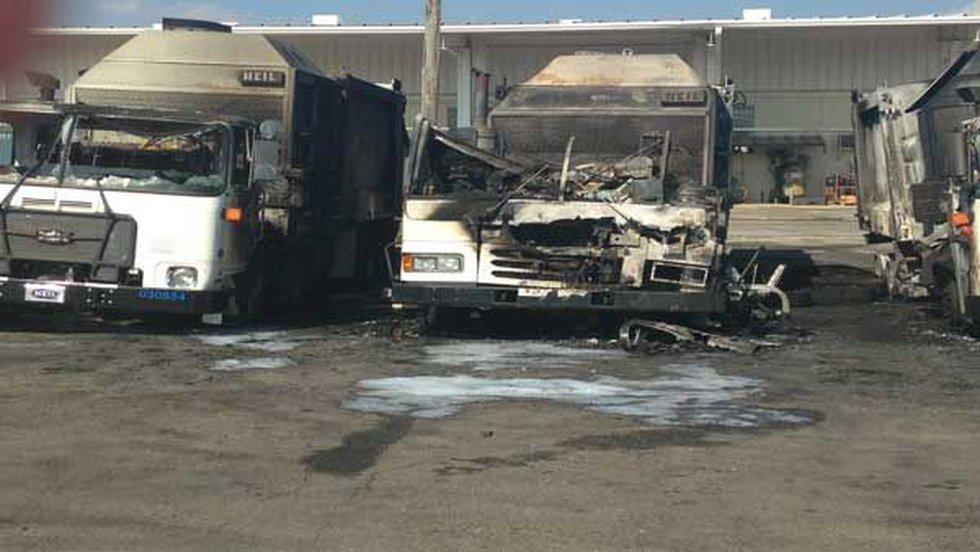 Three trucks at the Johnson Road fleet management building caught fire Sunday morning. (Source:...
