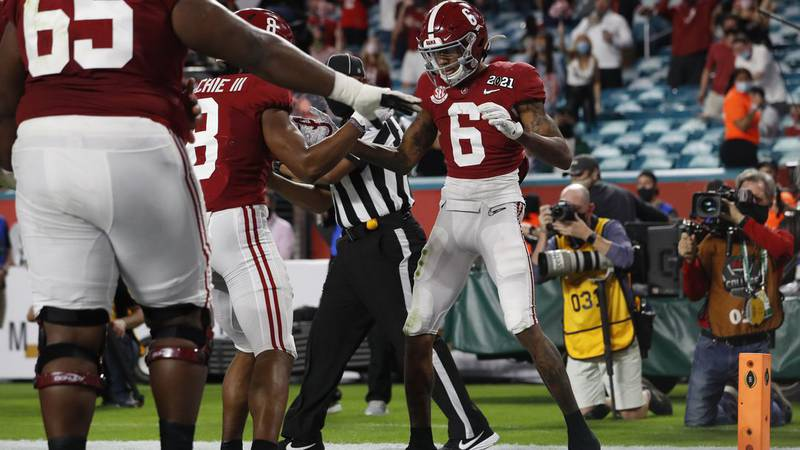 Former Tide Wide Receiver DeVonta Smith celebrates during Alabama National Championship victory...