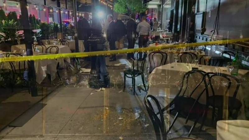 One person was injured after an armed robbery at an upscale restaurant.