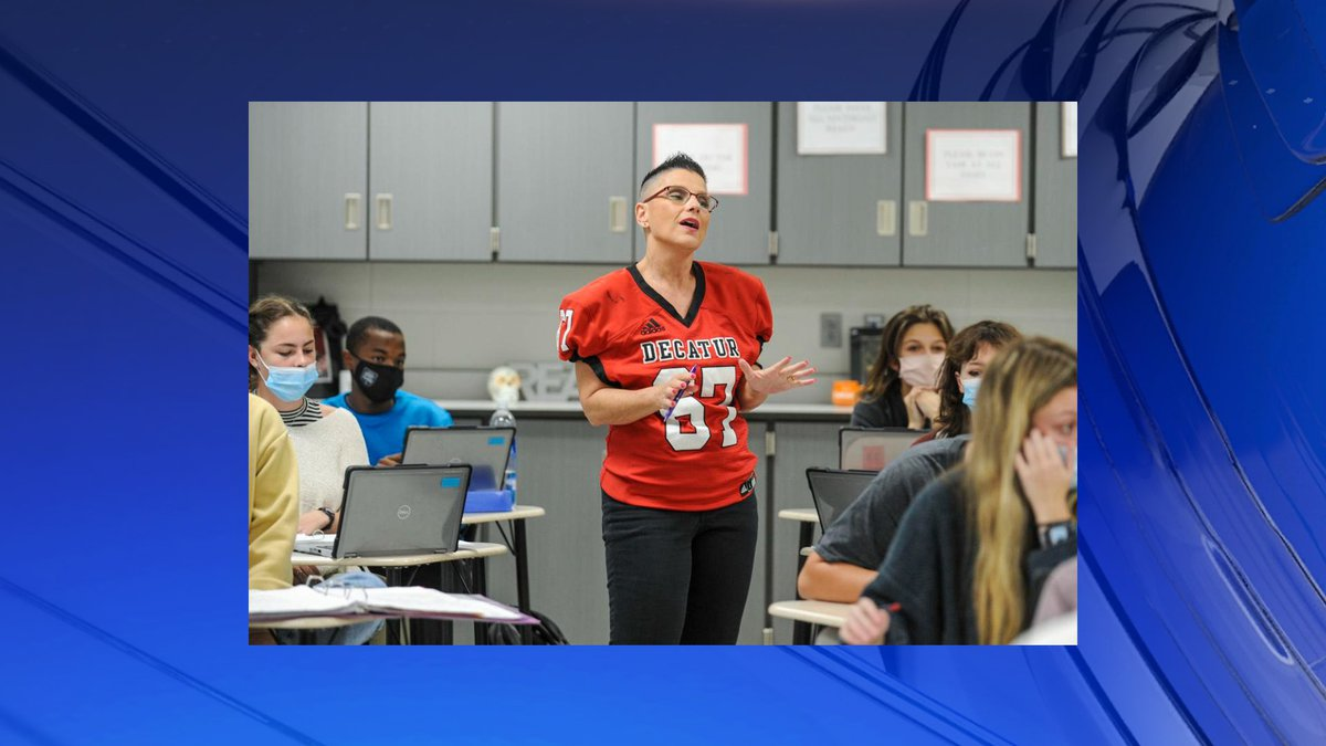 Jackie Hendrickson talks to her students during her literature class at Decatur High School on...