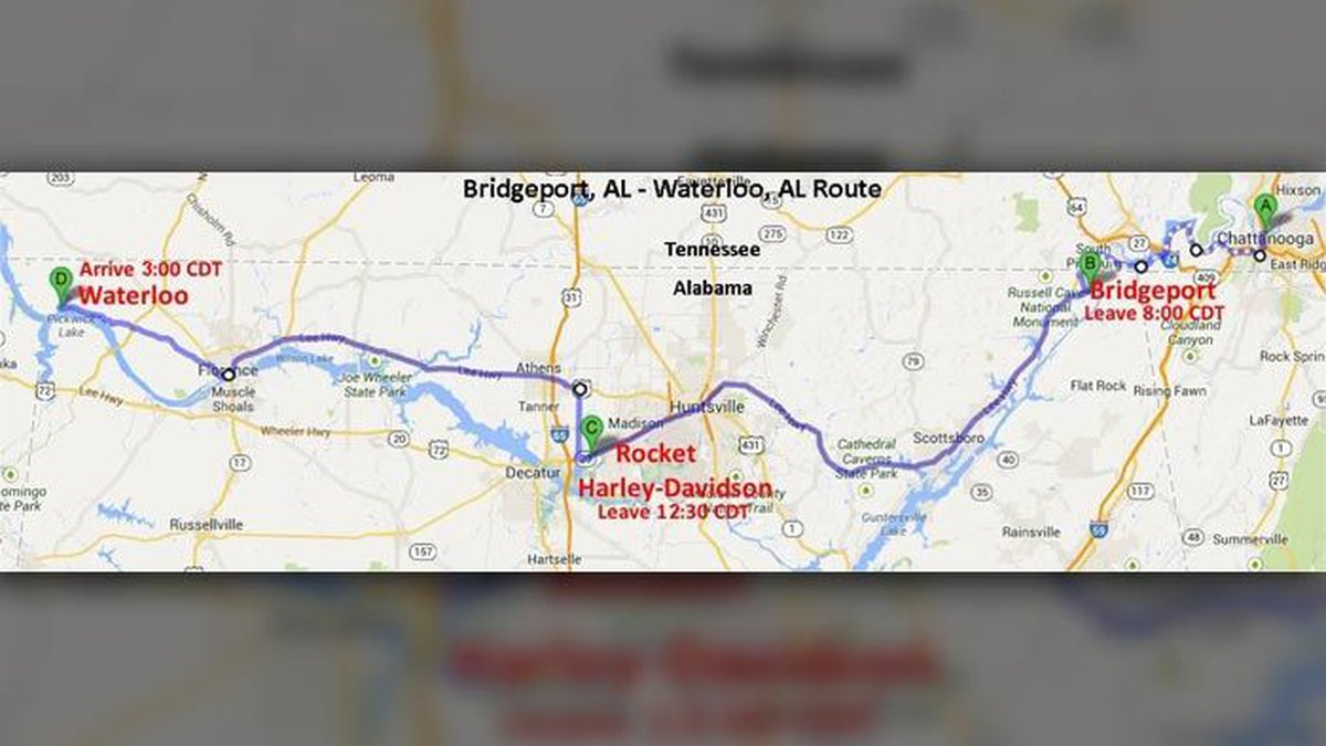 Trail of Tears 2015 route (Source: Trail of Tears)