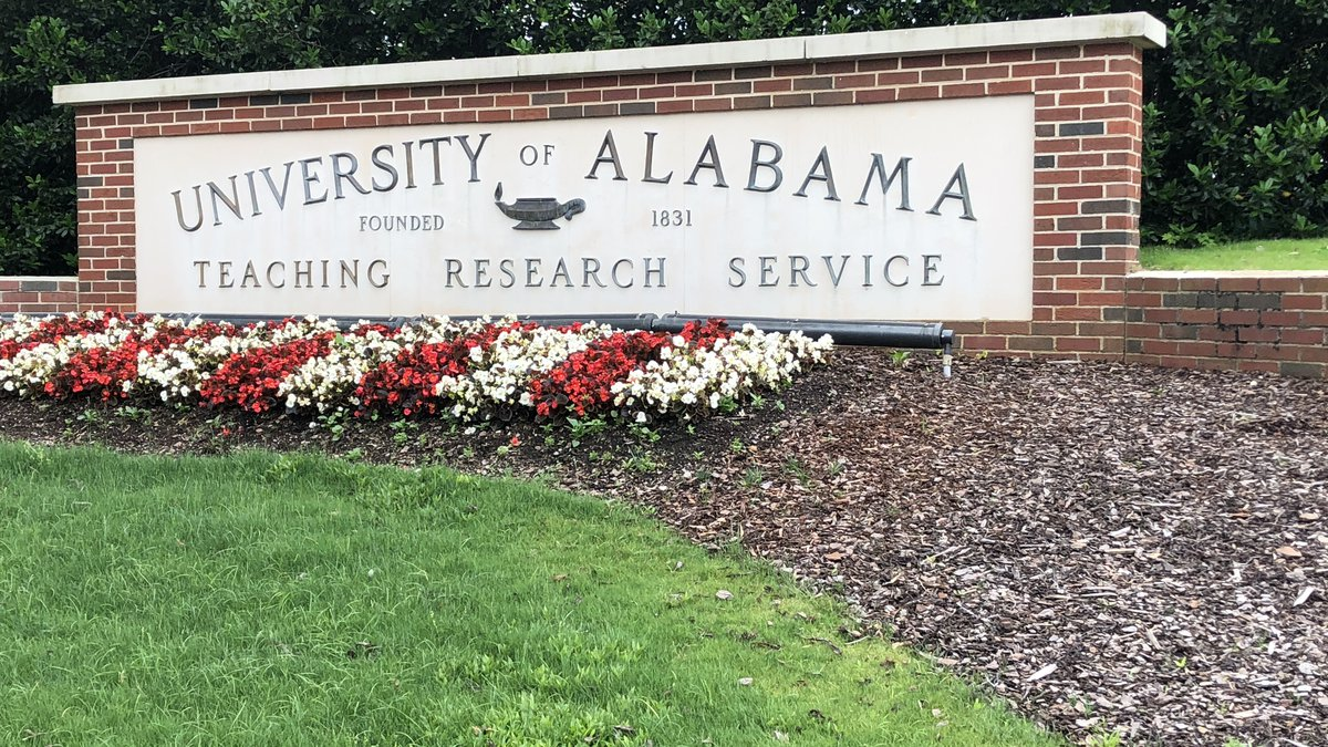 A marker for the University of Alabama campus