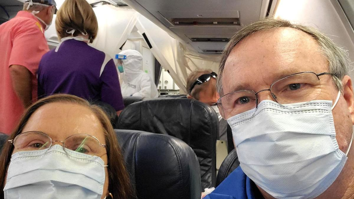 Cullman residents Len and June Brooks are seen Tuesday afternoon after boarding a plane after...
