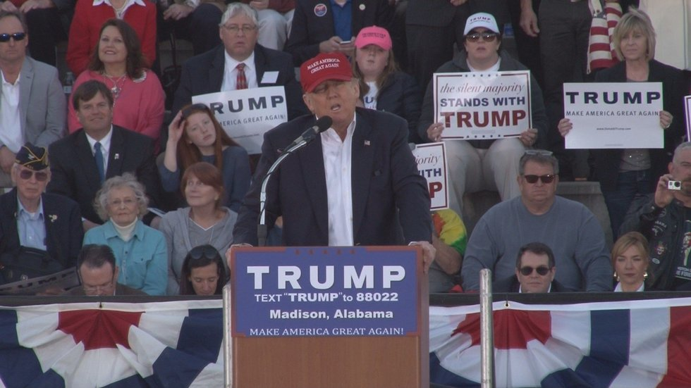 Donald Trump addresses supporters at Madison rally. (Source: WAFF)