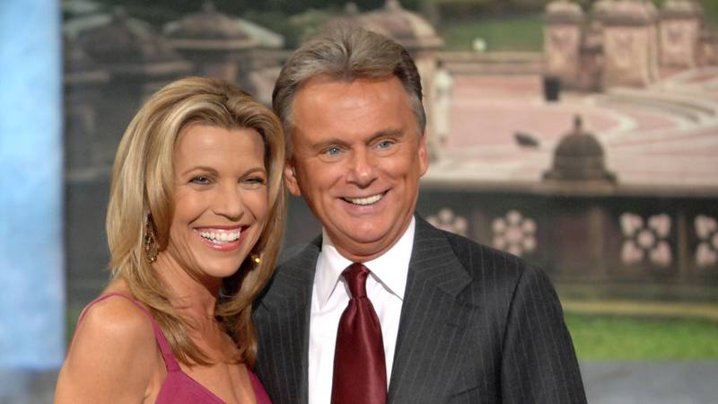 Co-host Vanna White and host Pat Sajak make an appearance at Radio City Music Hall for a taping...
