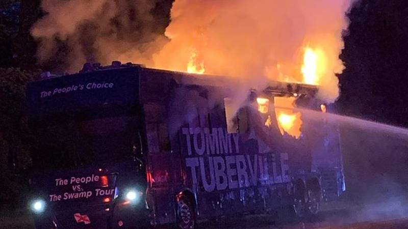 A vehicle promoting U.S. Senate candidate Tommy Tuberville caught fire on I-59.