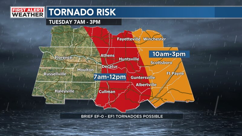 Timing for storms and tornadoes today.