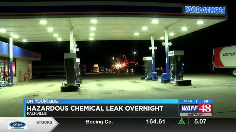 Hazardous chemical leak overnight on Highway 55