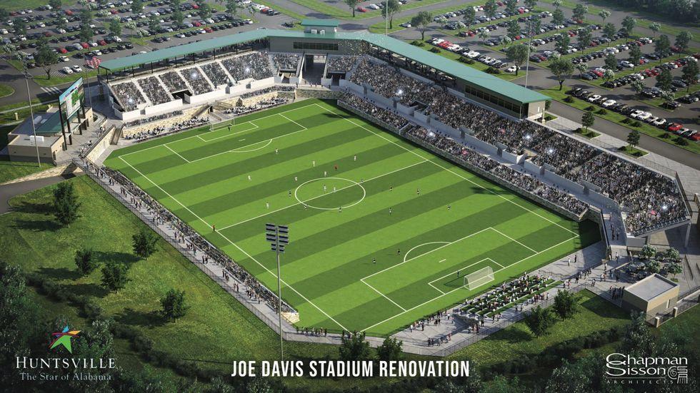Artist's rendering of the professional soccer configuration of the new Joe Davis Stadium