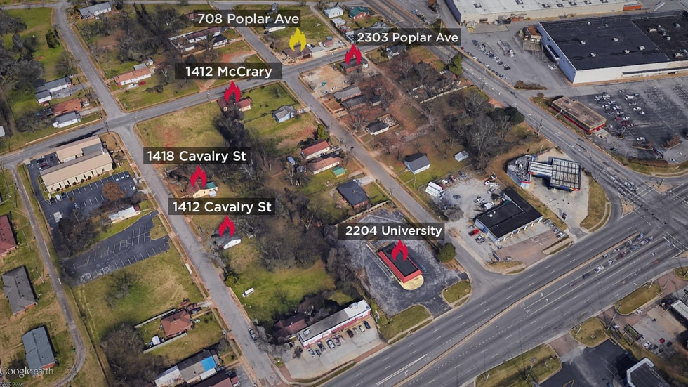 Here are the addresses Huntsville Police say have been targeted with arson. 708 Poplar Avenue...