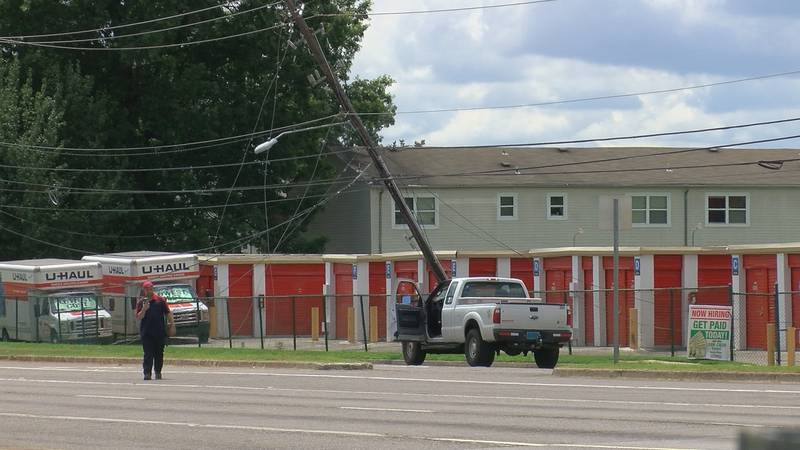 An 18-wheeler wreck brought down two utility poles in the area of Sparkman Drive on July 7, 2020.